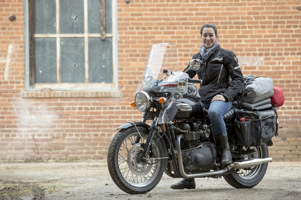 Lynn and her Triumph Bonneville equipped with Giant Loop gear. Photo Courtesy Triumph America.