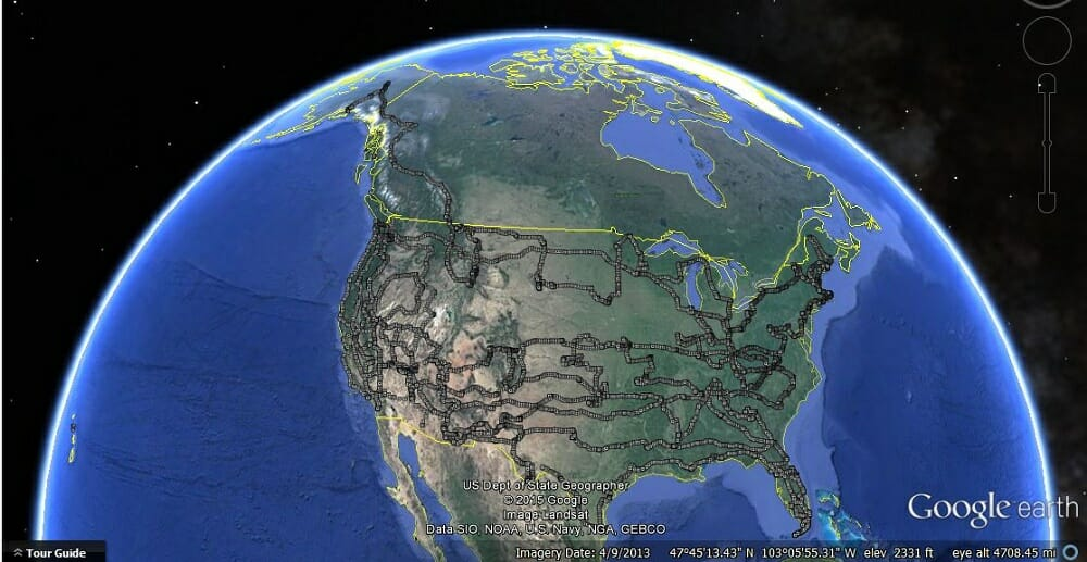 BT2BT 53000miles google earth