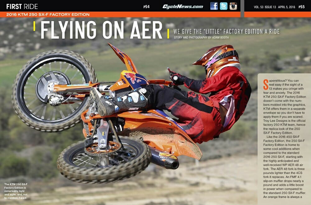 2016 KTM 250 SX-F Factory Edition: FIRST RIDE - Cycle News