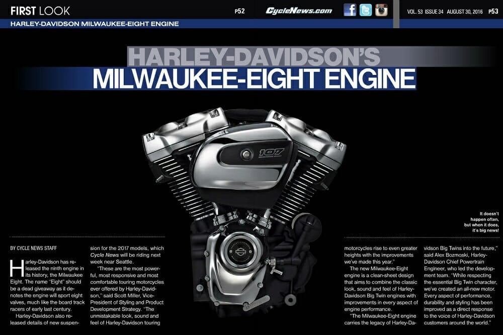 FIRST LOOK: Harley-Davidson's Milwaukee Eight Engine - Cycle