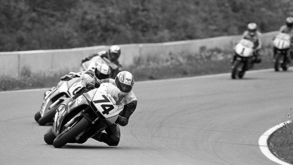 Todd Harrington leads the final lap of the 1996 AMA 600 Supersport race at Road America