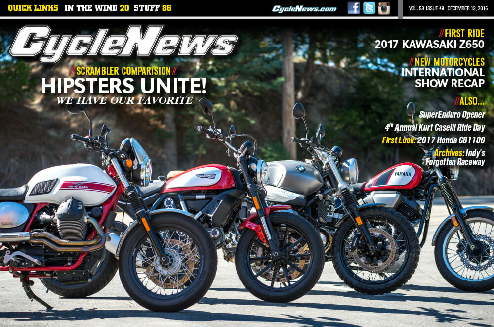 Cycle News Magazine #49: Scrambler Comparison, First Ride: Kawasaki Z650...