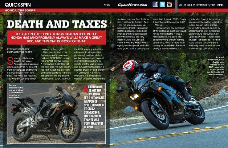 Honda CBR600RR: QUICK SPIN - Cycle News