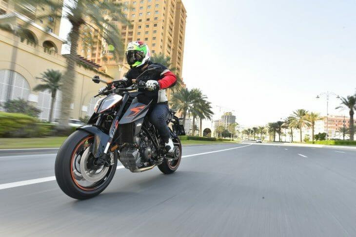 Riding the Super Duke around Doha, Qatar.