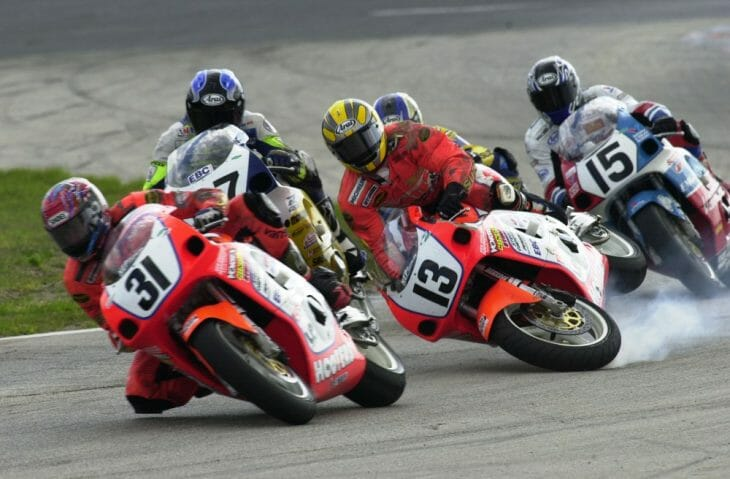 Mike Ciccotto had a tough day in the 2000 Daytona 750 Supersport race. He and Lee Acree came together resulting in Ciccotto losing the front end of his Hooters Suzuki and crashing.