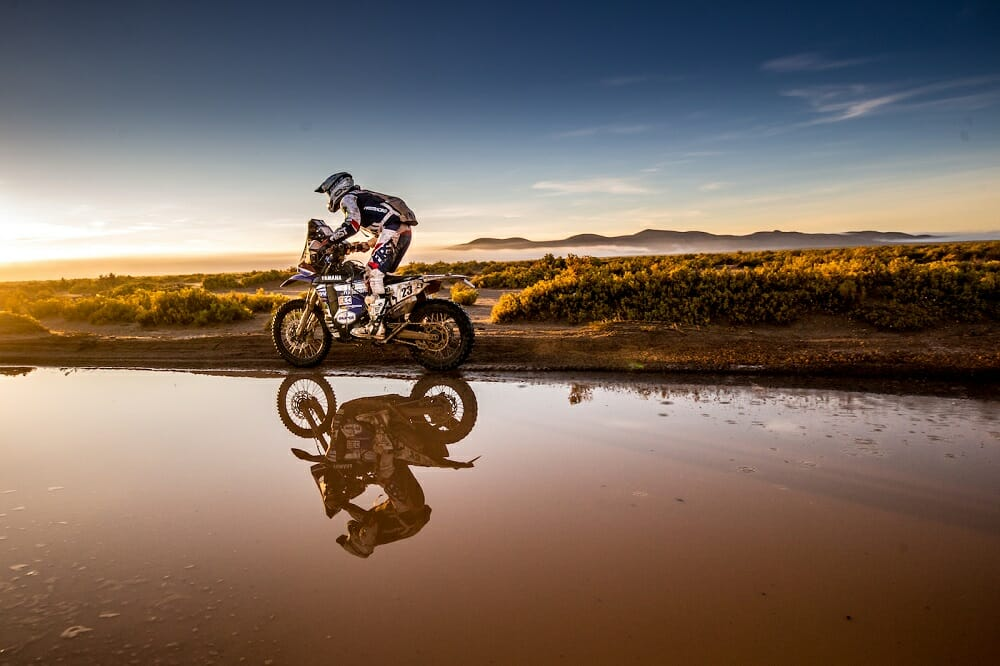 Yamaha is an up-and-coming team in the Dakar Rally, fielding riders such as Xavier De Soultrait, who ran sixth for much of the race before running out of luck late in the race.