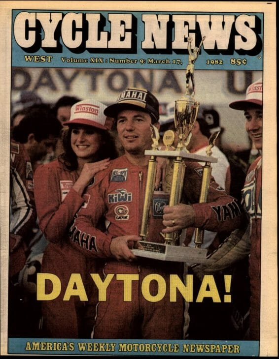 Graeme Crosby on the cover after winning the Daytona 200 in 1982.