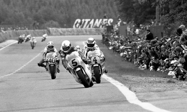 Crosby leads at the Belgium Grand Prix in 1982.