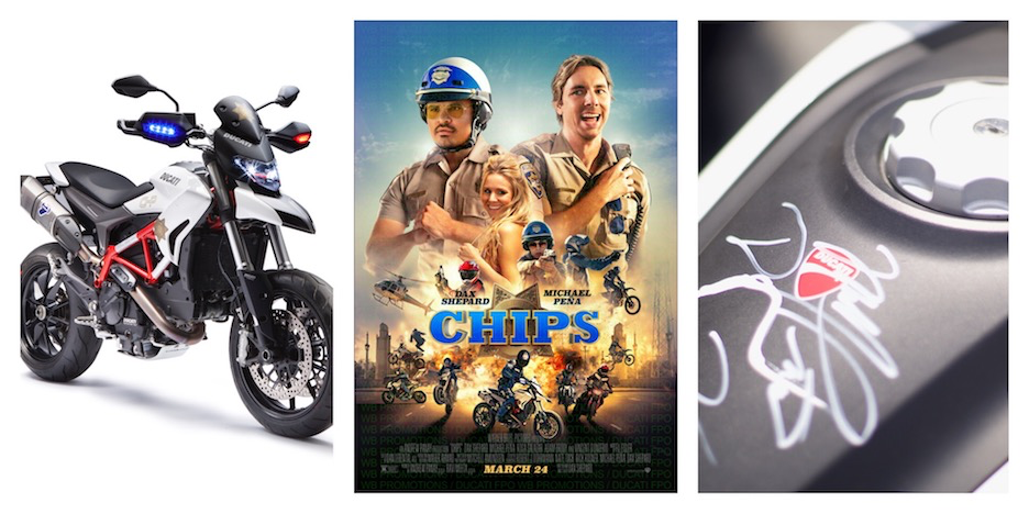 """Ducati Announces Charity Auction of Motorcycle Featured in Warner Bros. Action Comedy """"CHIPS"""""""
