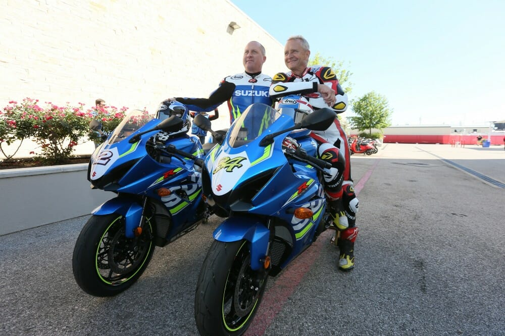 Suzuki Icons Kevin Schwantz and Kenny Roberts Jr. Do Lap Of Honor at COTA MotoGP - Cycle News