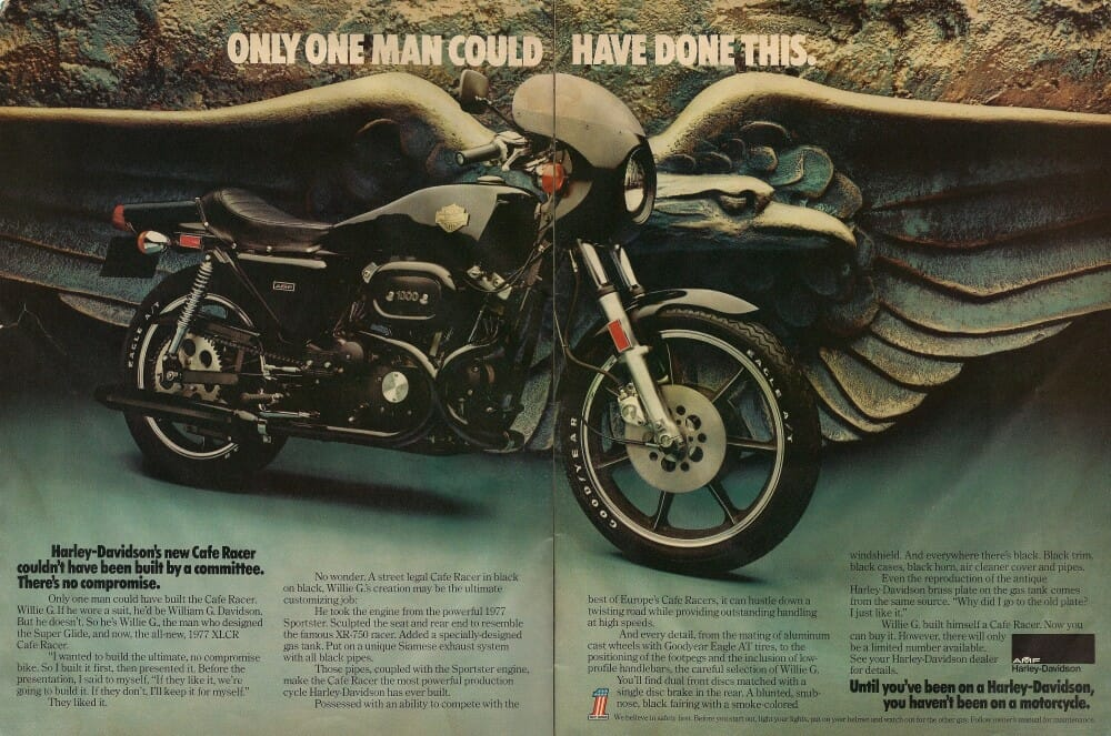An ad for the Harley-Davidson XLCR