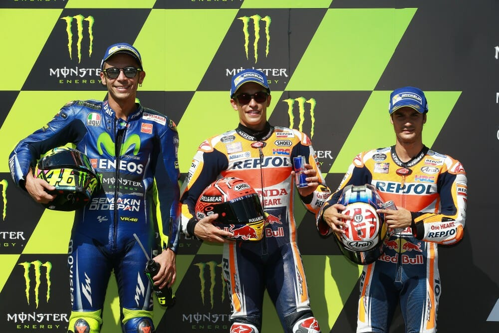Front row for Brno 2017 with Marc Marquez on pole.