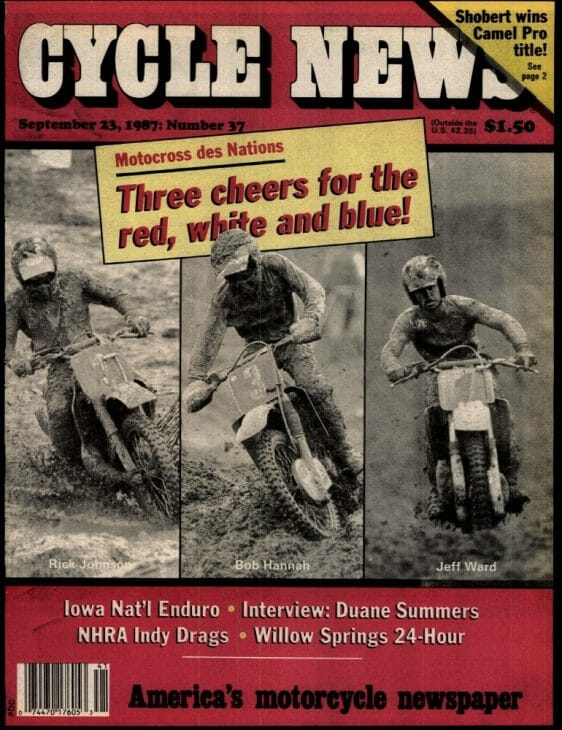 Cycle News cover featuring 1987 MX des Nations