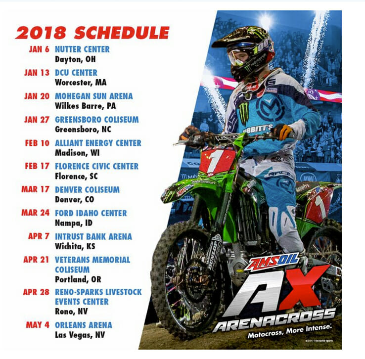 2018 Amsoil Arenacross Season Schedule