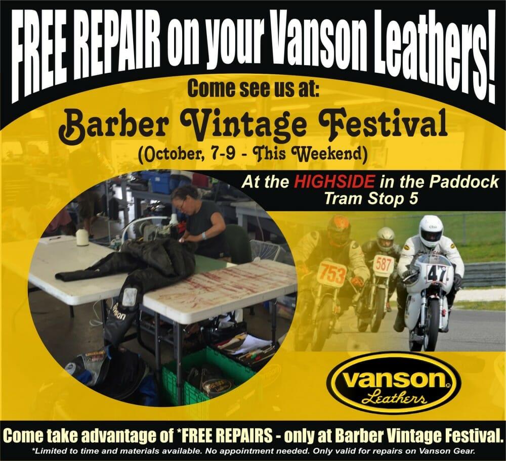Vanson Offering Free Repairs at Barber Vintage Festival this Weekend