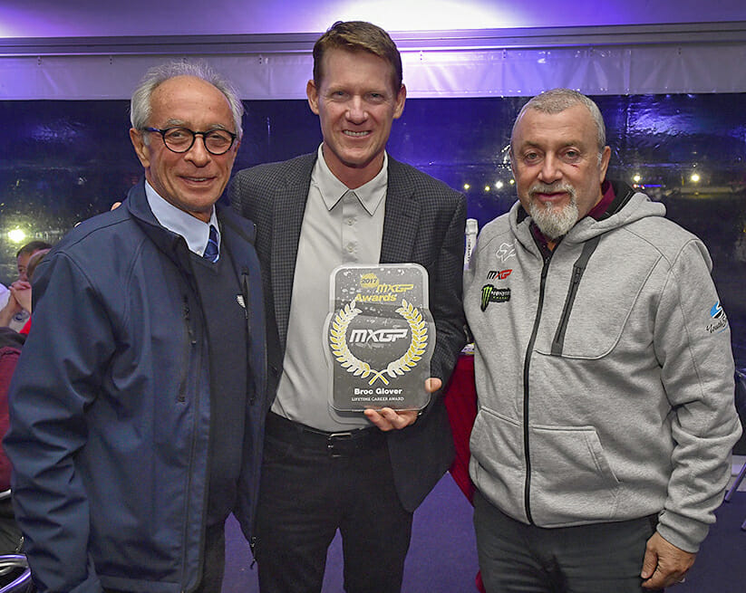 Pictured presenting Glover his award is F.I.M. President Vito Ippolito (left) and Youthstream President, Giuseppe Luongo (right).