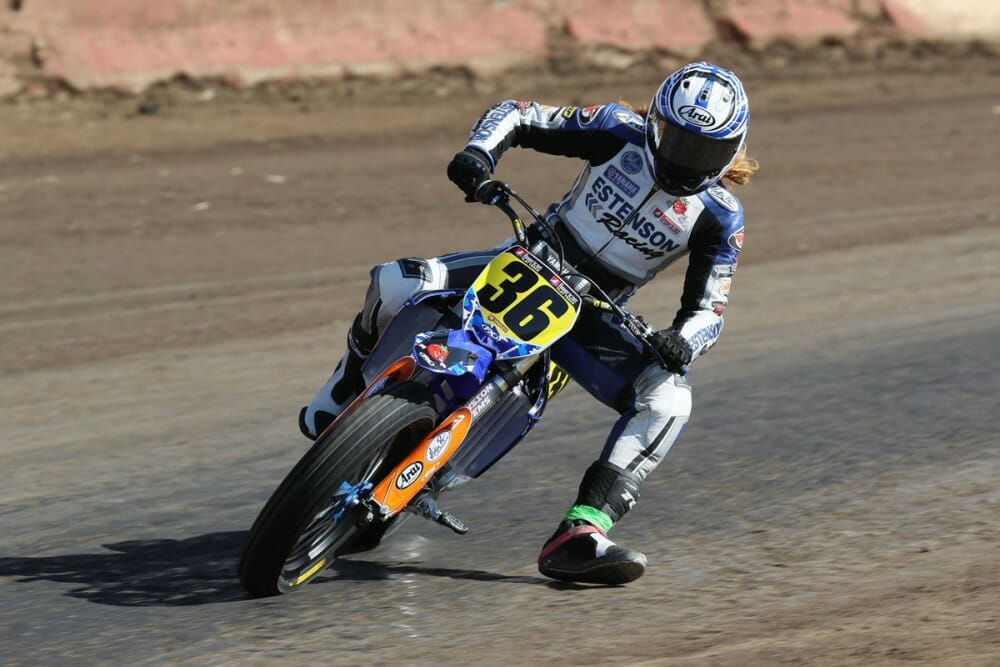 Kolby Carlile American Flat Track Dunlop with eight podium finishes in the season.