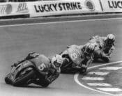 Doug Chandler races the Cagiva GP500 ahead of Àlex Crivillé and Wayne Rainey in the 1993 Dutch TT at Assen. (Henny Ray Abrams photo)