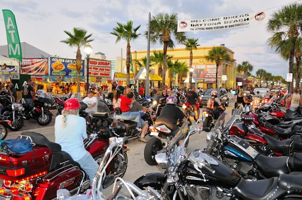 Main Street Draws Huge Crowds In Daytona Beach During Its Annual Motorcycle Rallies Bike Week And Biketoberfest Photo Courtesy Area Cvb