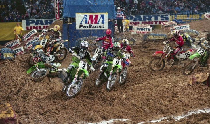 Jeff Emig gets a great start in the 1997 Dallas Supercross.