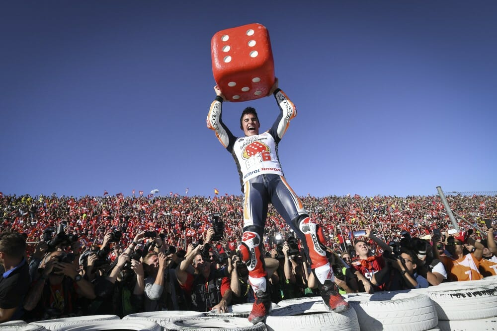 Marc Marquez earned his fourth premier class crown, becoming the youngest to achieve the feat. (Courtesy MotoGP)