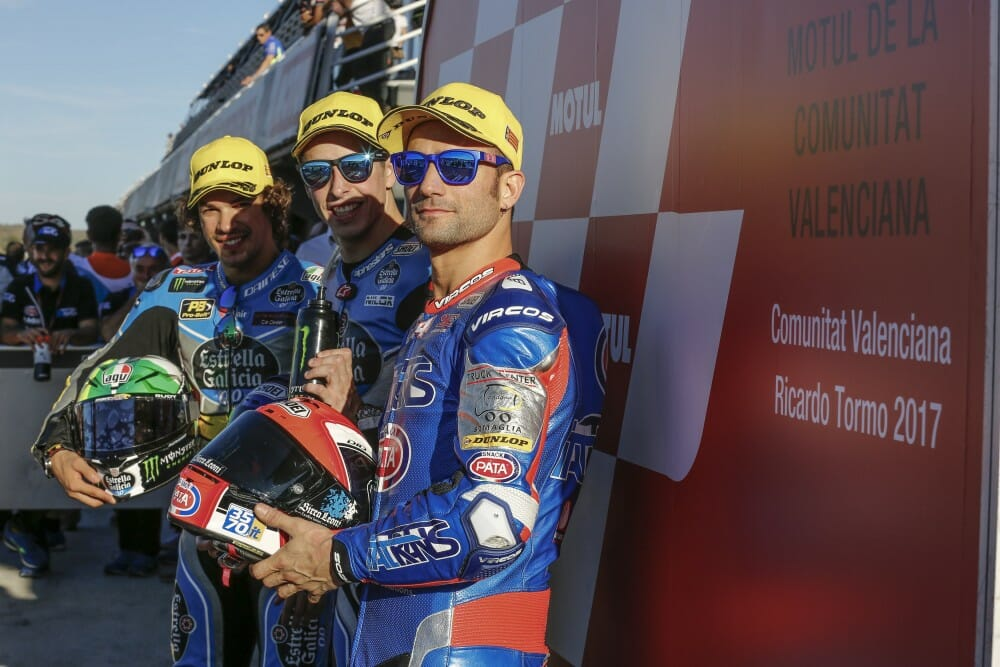 The Moto2 front row from Valencia,