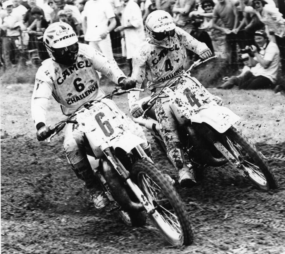 Brad Lackey (6) battling Andre Vromans for the 1982 FIM 500cc Motocross World Championship.