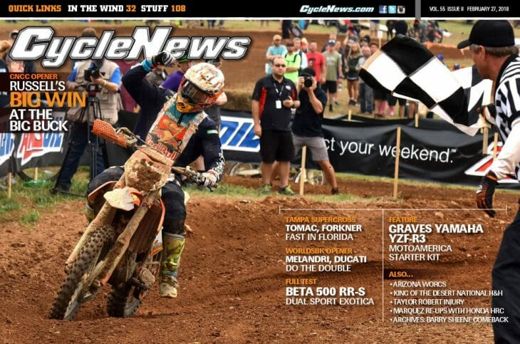 Cycle News Magazine #8: GNCC Opener, Tampa Supercross, Beta 500 RR-S Test...