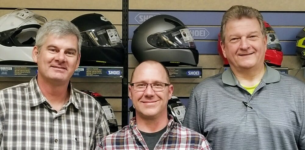 Helmet House Account Reps Corrigan, Klein and Feiertag- left to right