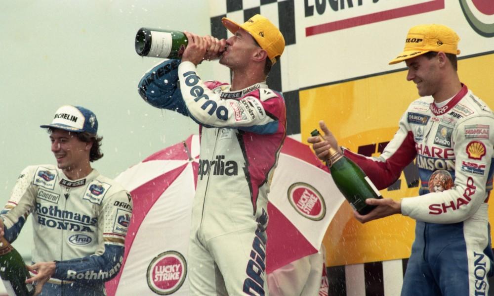 Frankie Chili celebrates his 250cc Grand Prix victory at Assen in 1991