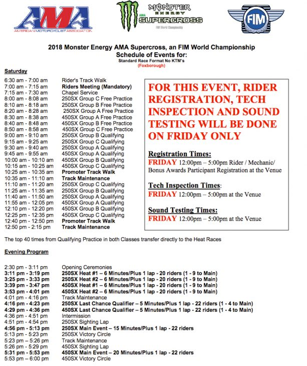 Early Schedule For Foxborough Supercross