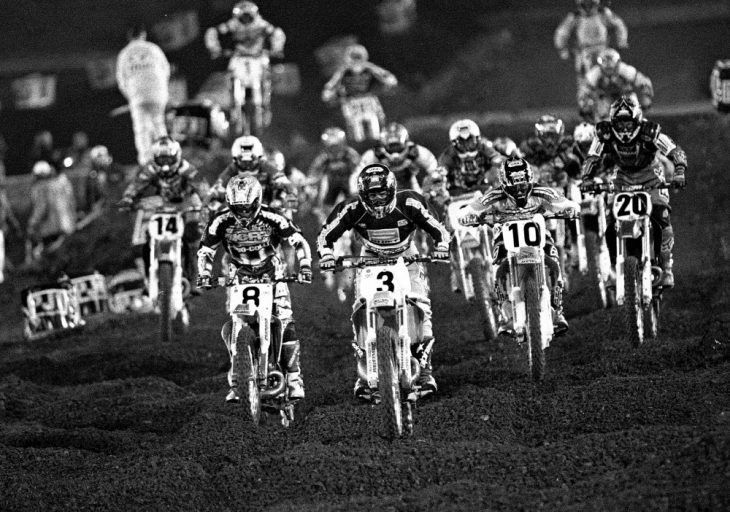 Jeff Emig leads early in the 1997 Los Angeles Supercross