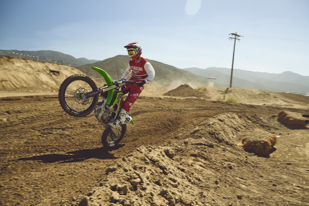 We like popping wheelies on the new 2019 Kawasaki KX450