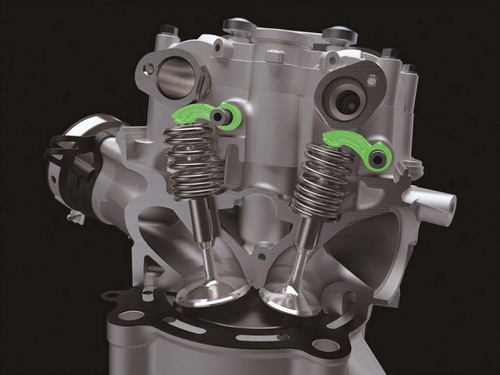 The 2019 KX450F gets a more efficient valvetrain.