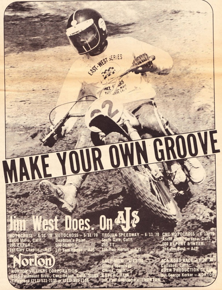 AJS was so impressed with Jim West that he was featured in a Cycle News ad.
