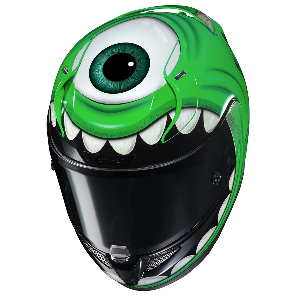 "Introducing HJC's most ""eye-catching"" helmet, the RPHA 11 Mike Wazowski."
