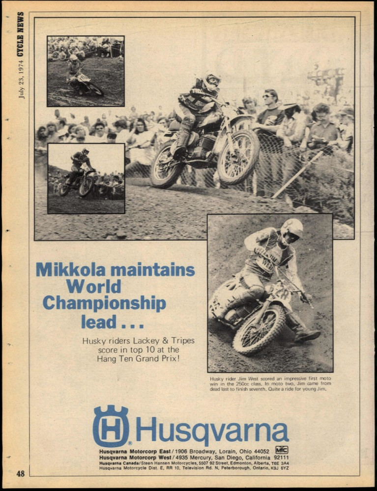 West shared a Husqvarna ad with world champion Heikki Mikkola.