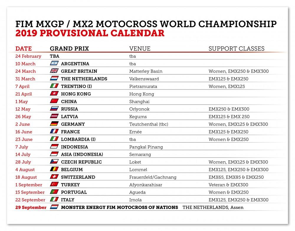 2019 FIM Motocross World Championship Provisional Calendar