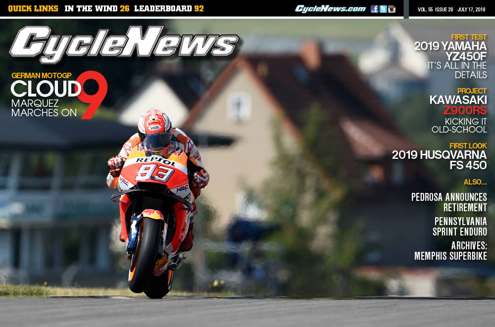 Marc Marquez is pictured on the front page of Cycle News.