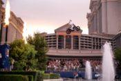 Travis Pastrana jumps Caesar Palace fountains.