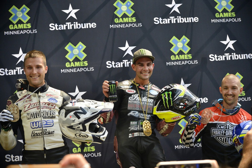 (Left to right) Briar Bauman, Jared Mees and Jake Johnson make up the Flat Track podium at the X Games Minneapolis 2018. Photo: Dave Hoenig