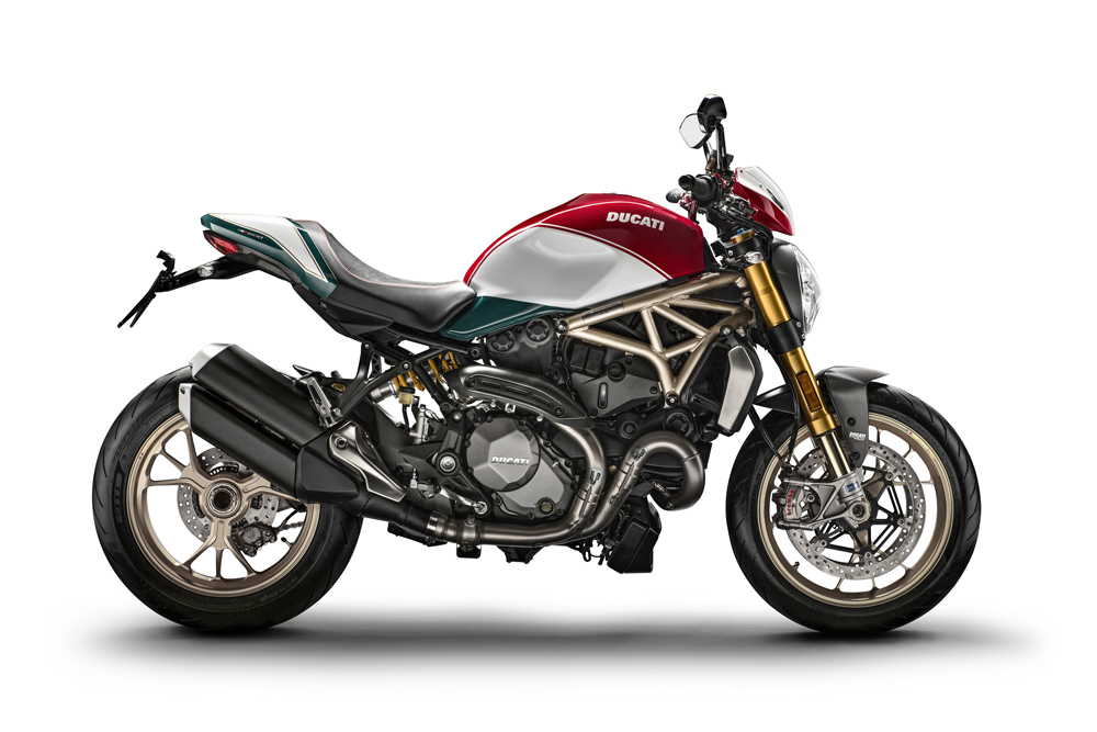 Dovizioso unveils the Monster 1200 25° Anniversario Limited Edition at the press conference in Bologna.