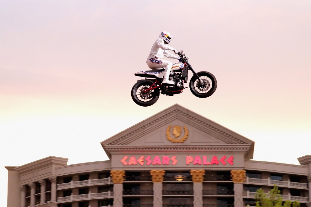 "Travis Pastrana peforms during HISTORY's Live Event ""Evel Live"" on July 8, 2018 in Las Vegas, Nevada. (Photo by Neilson Barnard/Getty Images for HISTORY)"