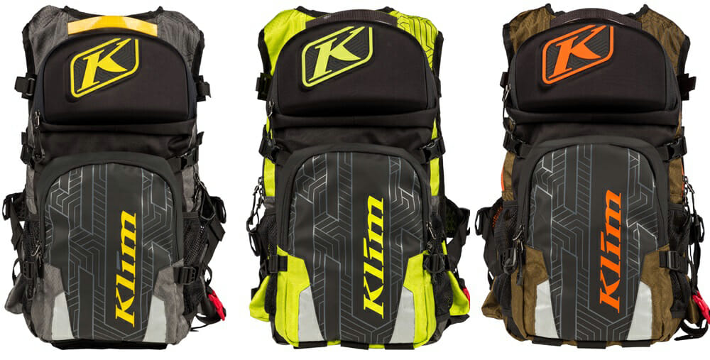 The 2018 KLIM Nac Pak comes in lime, gray or olive.