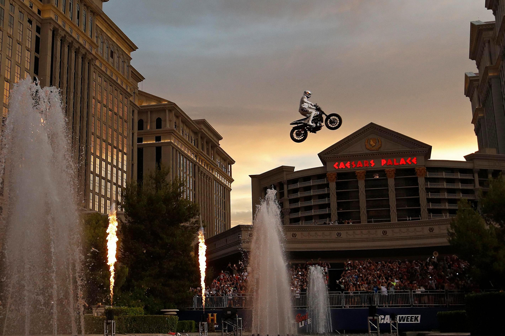 """Travis Pastrana peforms during HISTORY's Live Event """"Evel Live"""" on July 8, 2018 in Las Vegas, Nevada. (Photo by Neilson Barnard/Getty Images for HISTORY)"""