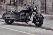 Along with styling updates, the 2019 cruisers, baggers and touring models have selectable ride modes, rear-cylinder deactivation to reduce heat when idling, and enhanced audio systems. (2019 Chief Dark Horse pictured).