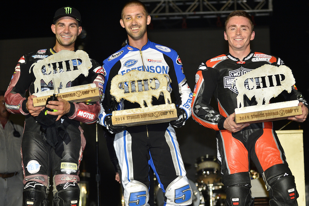 Jake Johnson (center), Jared Mees (left) and Sammy Halbert celebrate on the AFT Twins podium at the Buffalo Chip TT.