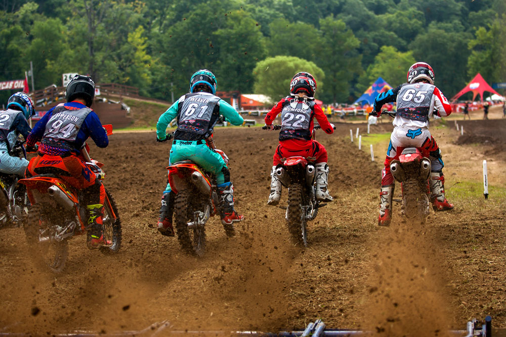 Factory Connection Honda's Carson Mumford gets the jump on Caleb Weaver (61) and Jeremy Kowalsky (65) in a 250 B Limited moto.