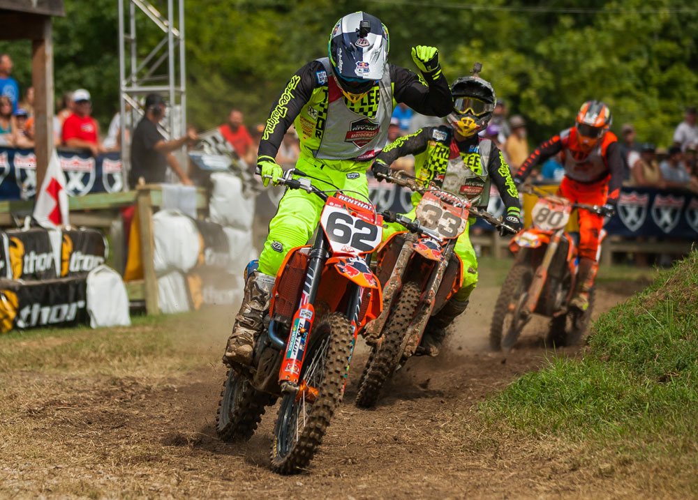 Mitchell Falk celebrates after holding off his TLD KTM teammate Derek Drake in the second 250 A moto.