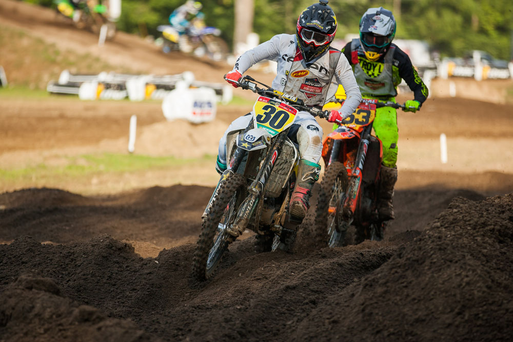 Jalek Swoll (30) and Pierce Brown battled all week long. Brown won three motos and set the fastest lap time of the week (one minute, 51 seconds) but Swoll took both class titles home with him to Florida.